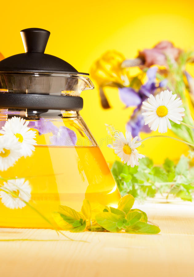 Teapot in the country house stock image