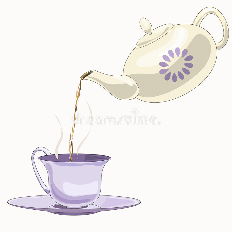 Teapot and cup. Teatime. vector illustration light royalty free illustration