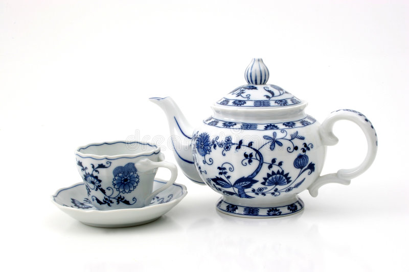Teapot with cup stock photo