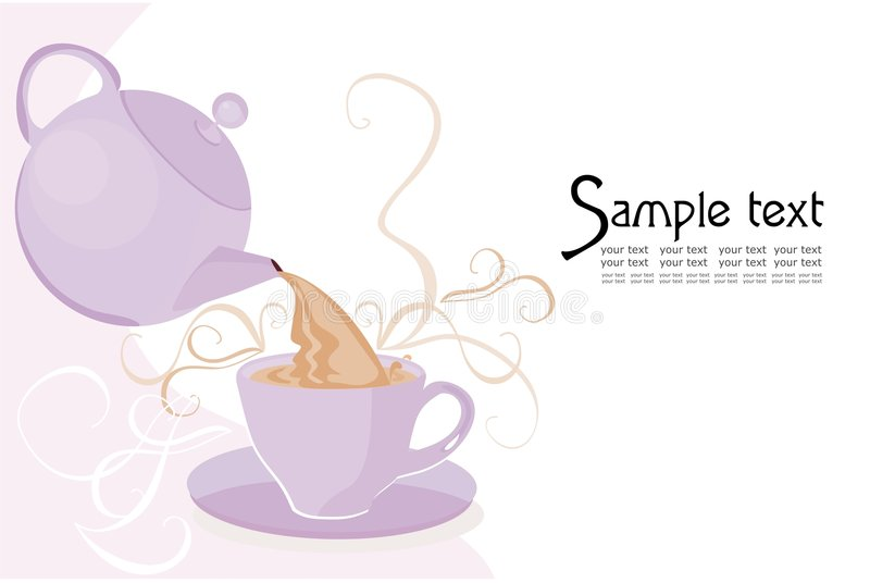 Teapot and cup. Background with teapot and cup stock illustration