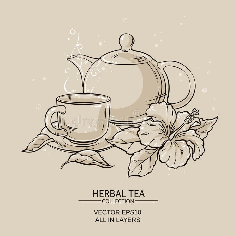 Teapot with cup and hibiscus flower. Illustration with cup of tea, teapot and hibiscus flower on brown background royalty free illustration