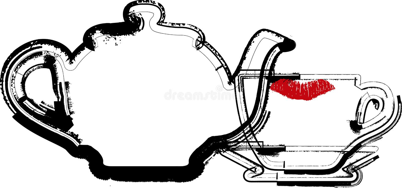 Teapot & Cup illustration royalty free illustration