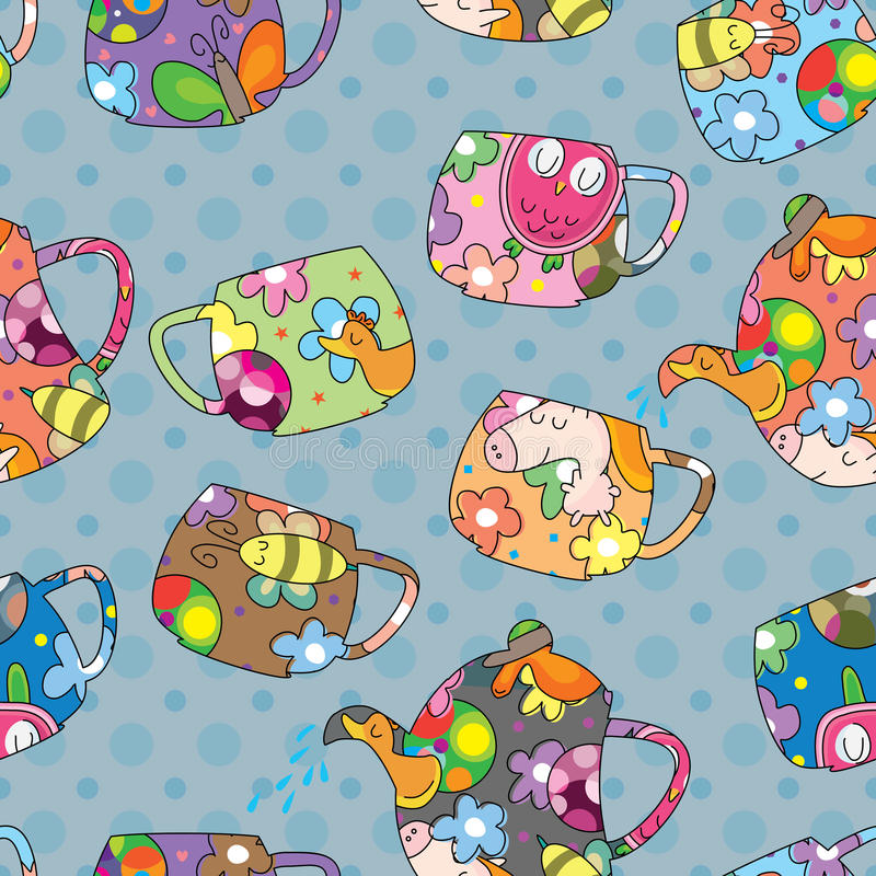 Teapot Cup Seamless Pattern_eps. Illustration of teapot cup with dots seamless pattern. --- This .eps file info Version: Illustrator 8 EPS Document: 5 * 5 Inches vector illustration