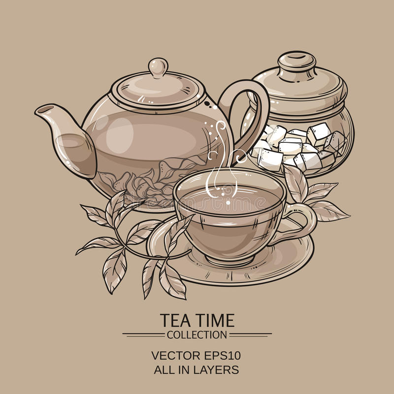 Teapot with cup and sugar bowl vector illustration