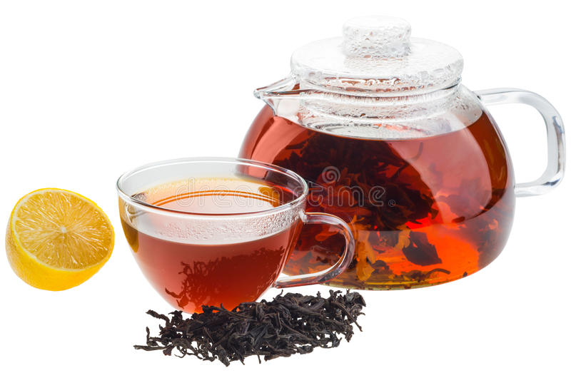 Teapot and cup of tea. Isolated on white stock images