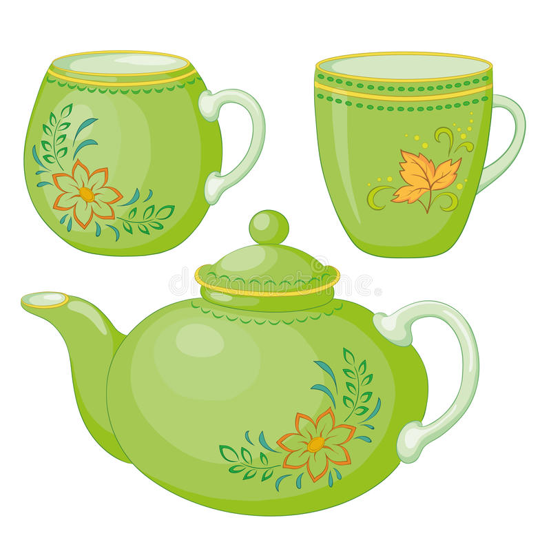 Download Teapot and cups stock vector. Image of drink, cover, food - 20651143
