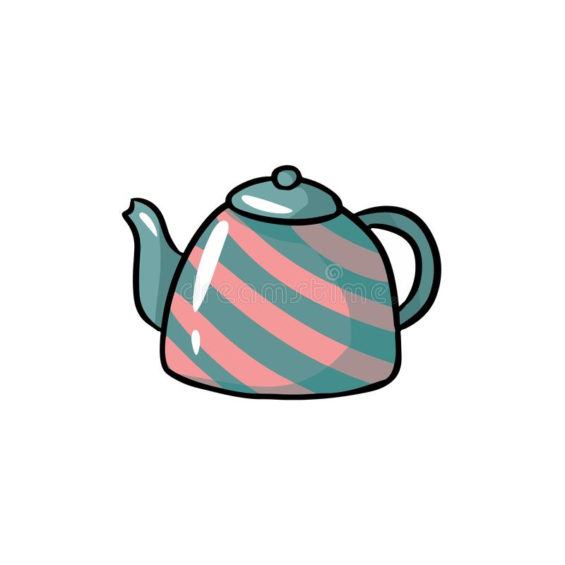 Teapot cute colorful doodle. Hand drawn cartoon icon royalty free illustration