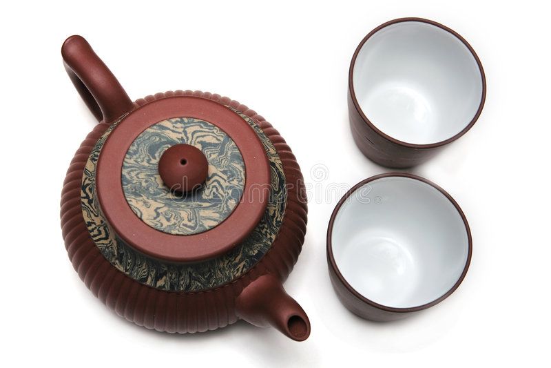Teapot de Japão com dois copos fotos de stock royalty free