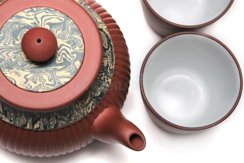 Teapot de Japão com dois copos foto de stock