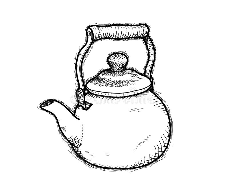 Teapot Doodle. A hand drawn vector doodle illustration of a teapot royalty free illustration