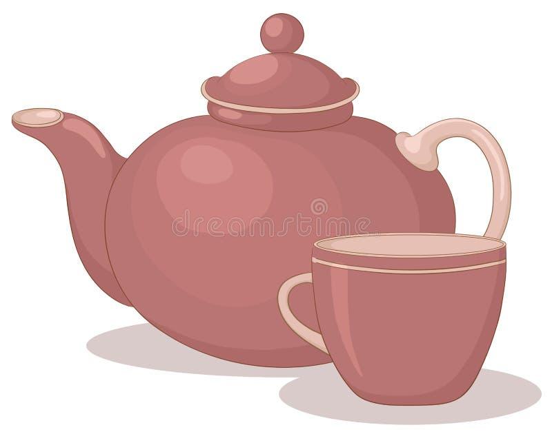 Teapot e copo ilustração stock