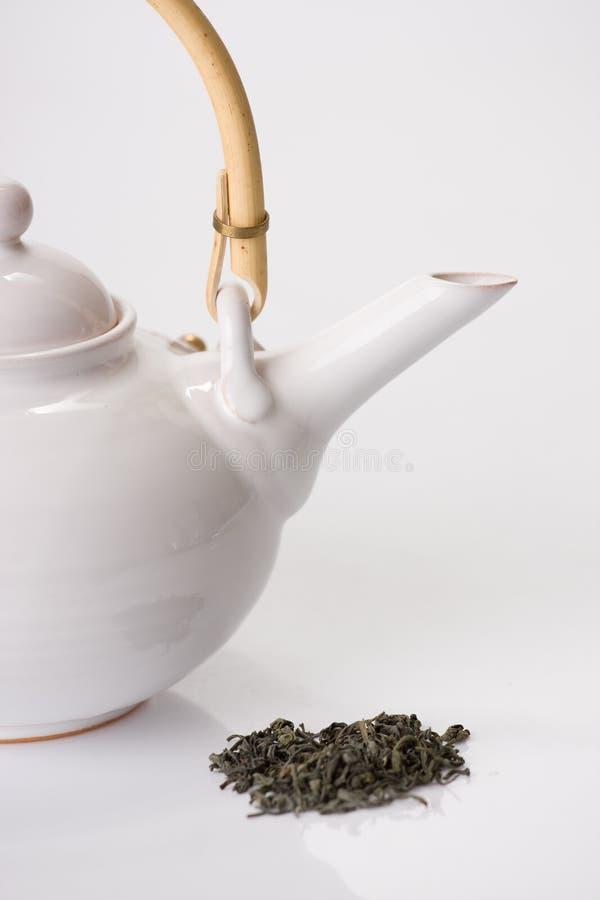 teapot för grön tea royaltyfria bilder