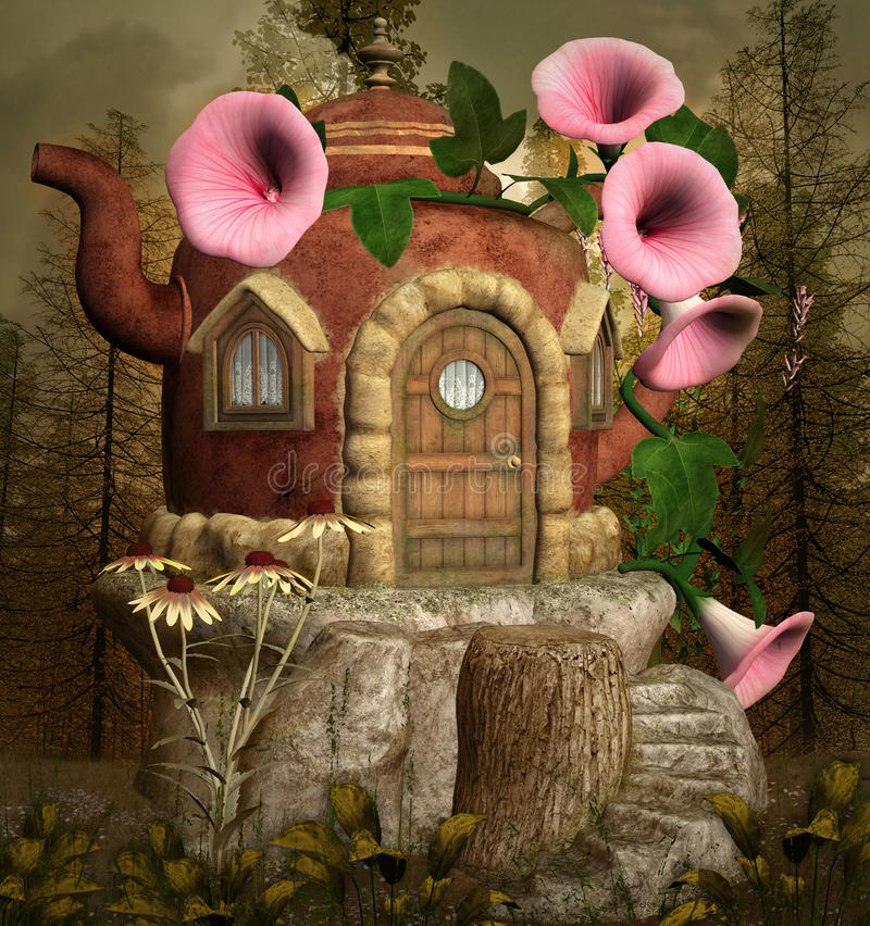 Teapot fantasy house. In the forest stock illustration