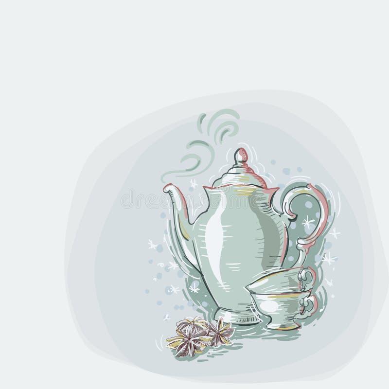 Teapot filiżanek kartki bożonarodzeniowej tła anyżowego błękitnego wektorowego miękkiego koloru farby pastelowy styl ilustracji