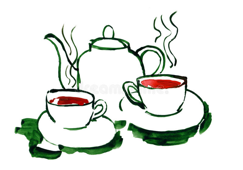 Teapot and glasses with tea. Drawn by watercolors on white background vector illustration