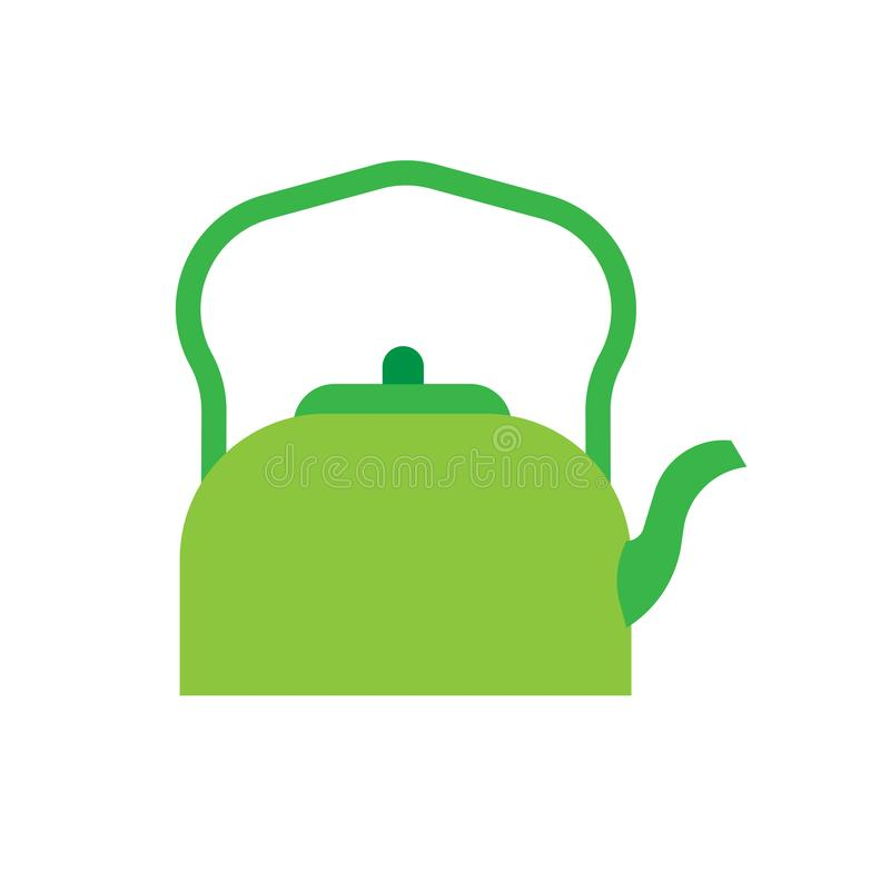 Teapot green side view vector icon. Traditional symbol tea art. Handle decorative flat kitchenware kettle pot stock illustration