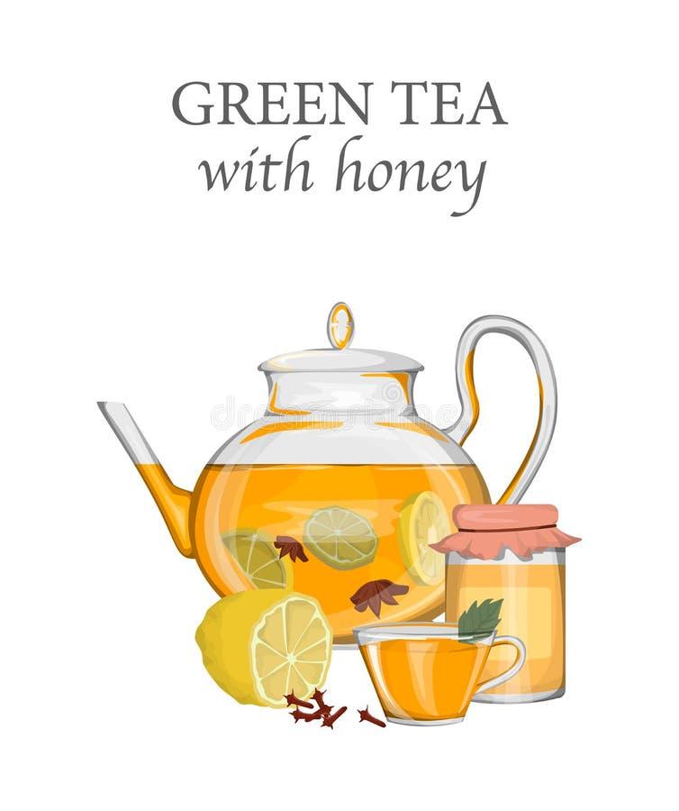 Teapot with green tea, lemon and honey. vector illustration