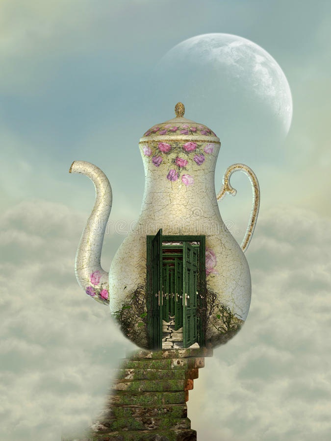 Teapot house. In the sky with moss stairway royalty free illustration