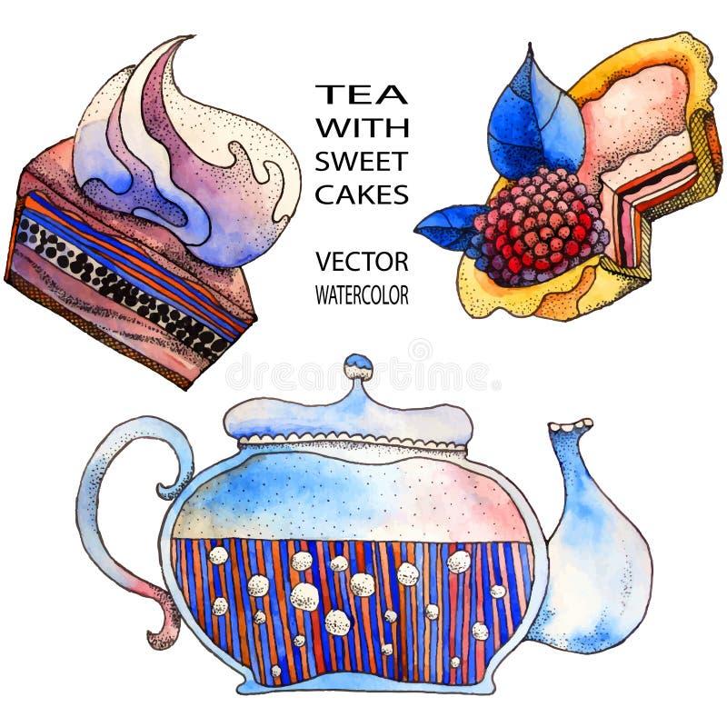 Teapot i cukierki torty ilustracji