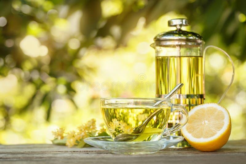 Teapot i filiżanka lipowa herbata obraz stock