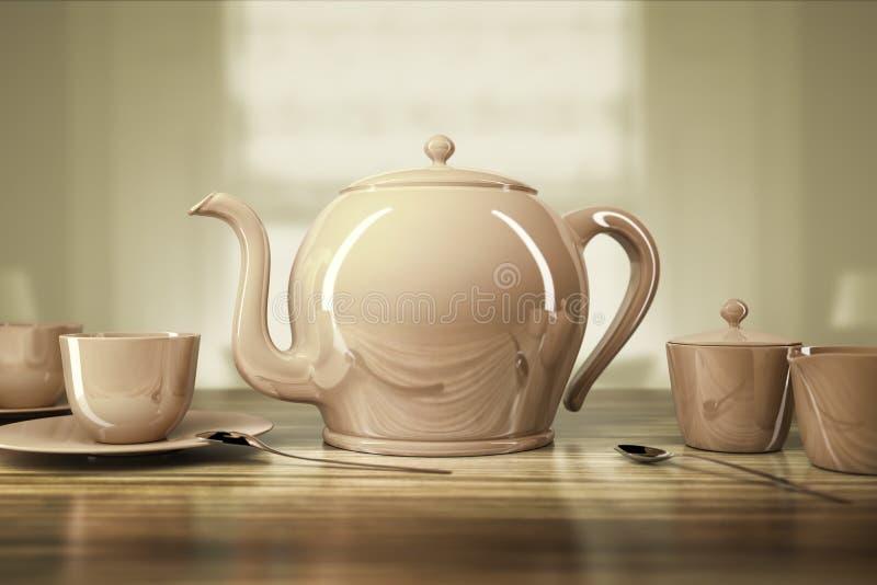 Teapot i teacups ilustracji