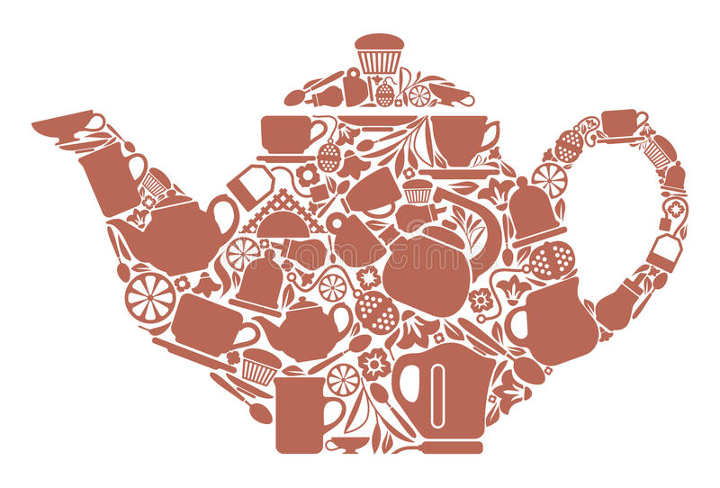 Teapot. With the image of symbols of tea drinking stock illustration