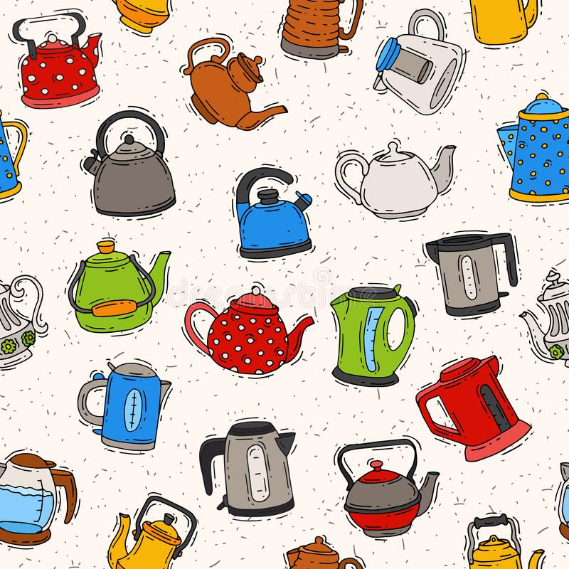 Teapot and kettle teakettle to drink tea on teatime and boiled coffee beverage in electric boiler in kitchen. Illustration kitchenware set seamless pattern stock illustration