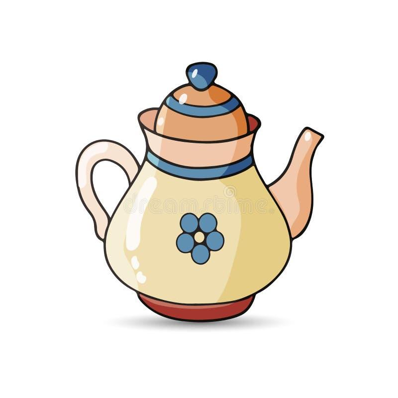 Teapot kształtujący, Jasnobrązowa porcelana na białym tle, royalty ilustracja