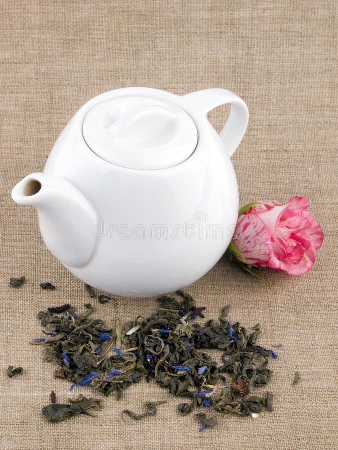Download Teapot On Linen Background Stock Images - Image: 18342344