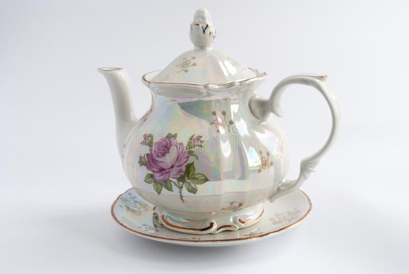 teapot malujący różany biel obraz stock
