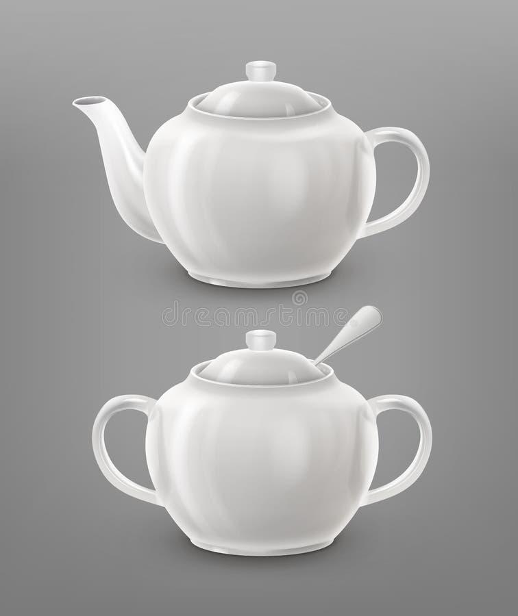 teapot miski cukru ilustracji