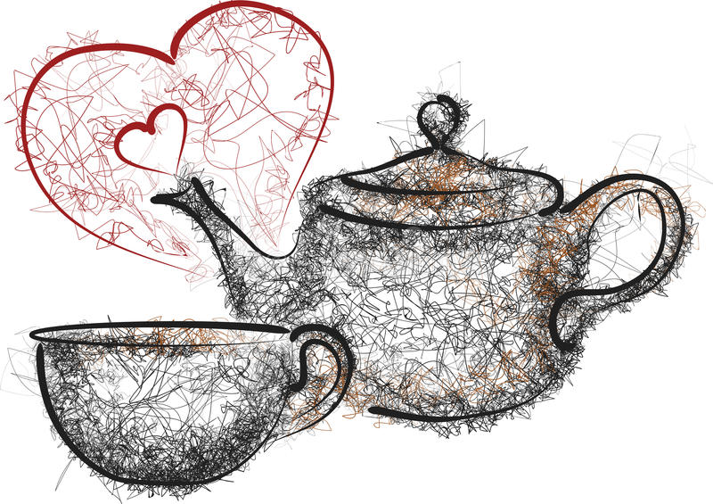 Teapot and mug. And red hearts isolated on white stock illustration