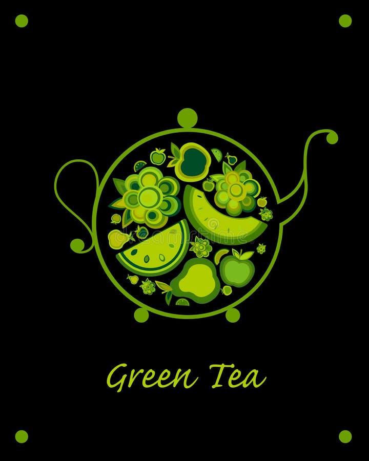 Teapot nakreślenie z owoc i jagodami herbacianymi dla twój projekta ilustracja wektor