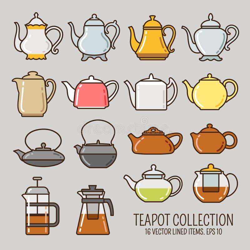 Teapot prążkowane ikony inkasowe zdjęcie stock