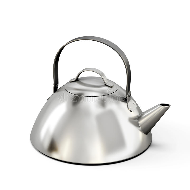 Teapot from stainless steel on a white background. 3d illustration stock illustration
