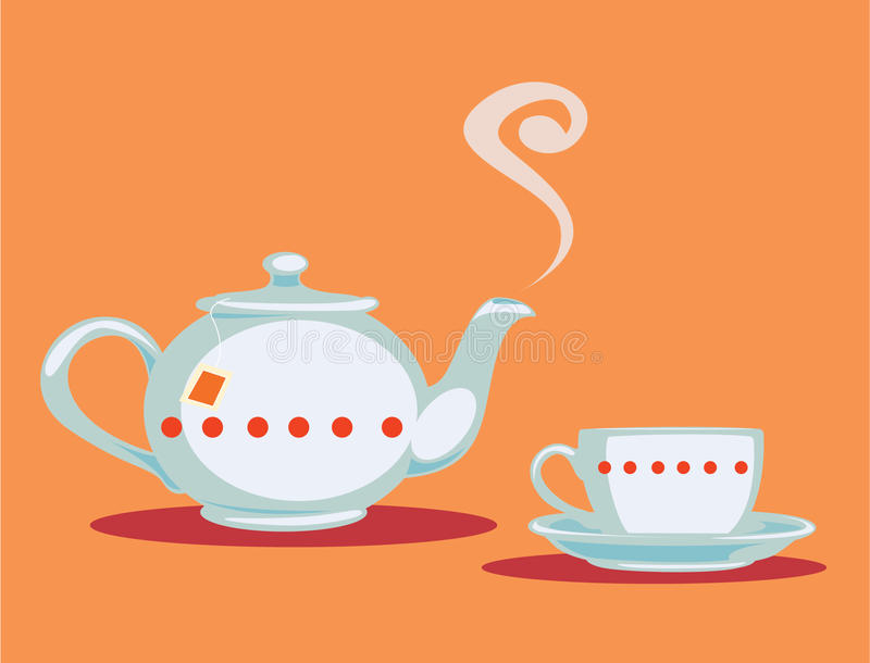 Teapot and teacup. Illustration of a cup of tea and a teapot stock illustration