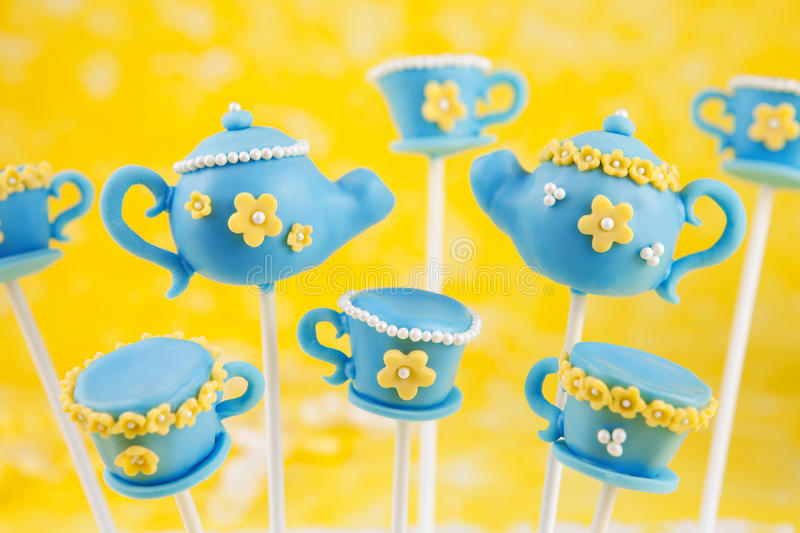 Teapot and teacup cake pops stock photo