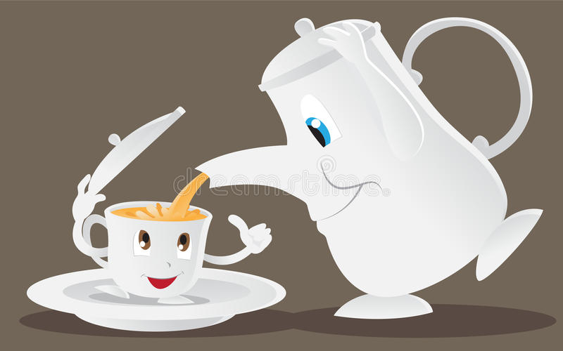 Teapot and teacup. Cartoon teapot is pouring tea to the teacup royalty free illustration