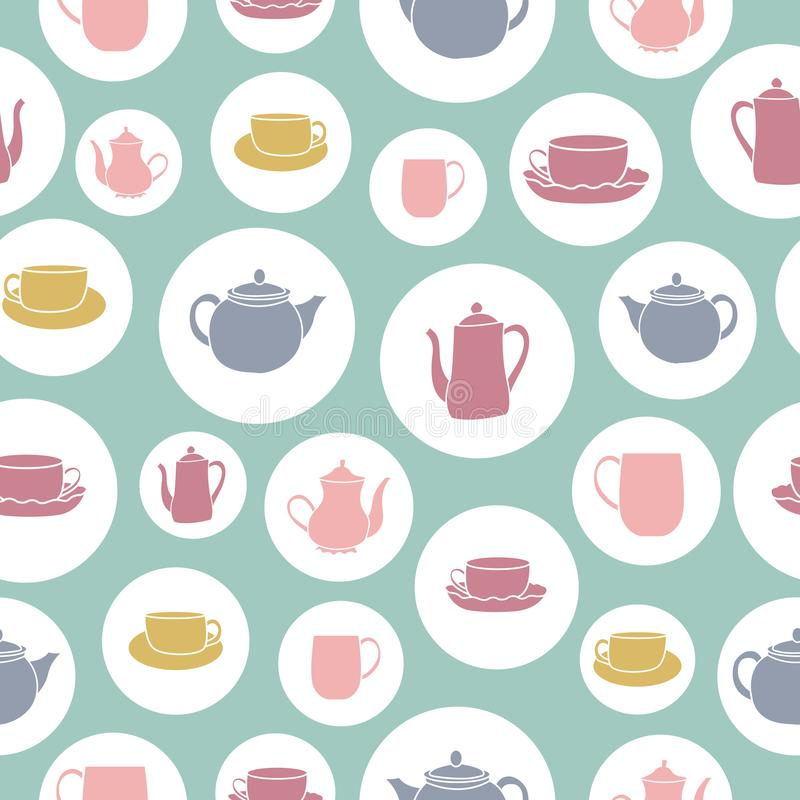 Teapot and teacups in bubbles  repeat pattern royalty free stock photo