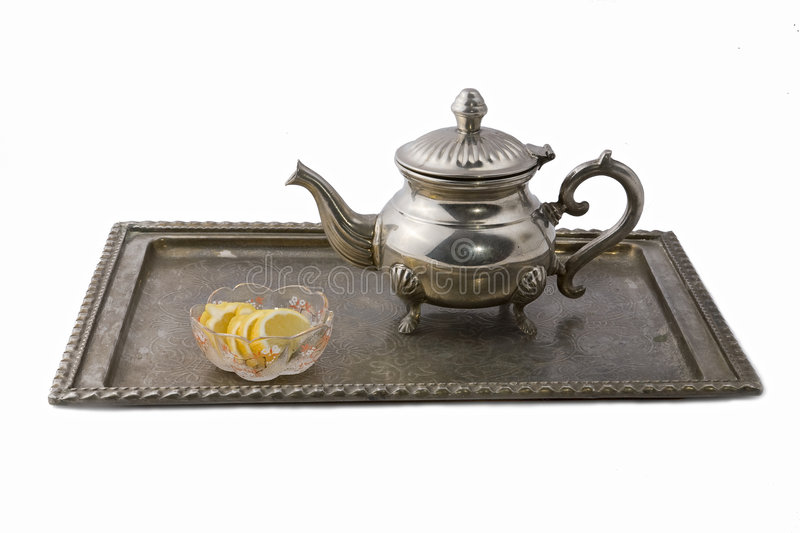 Download Teapot on a tray stock photo. Image of asian, white, fruit - 7230666