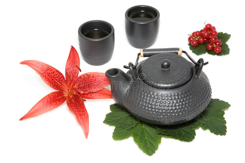 Download Teapot and two cup stock image. Image of asia, leaf, china - 22804521
