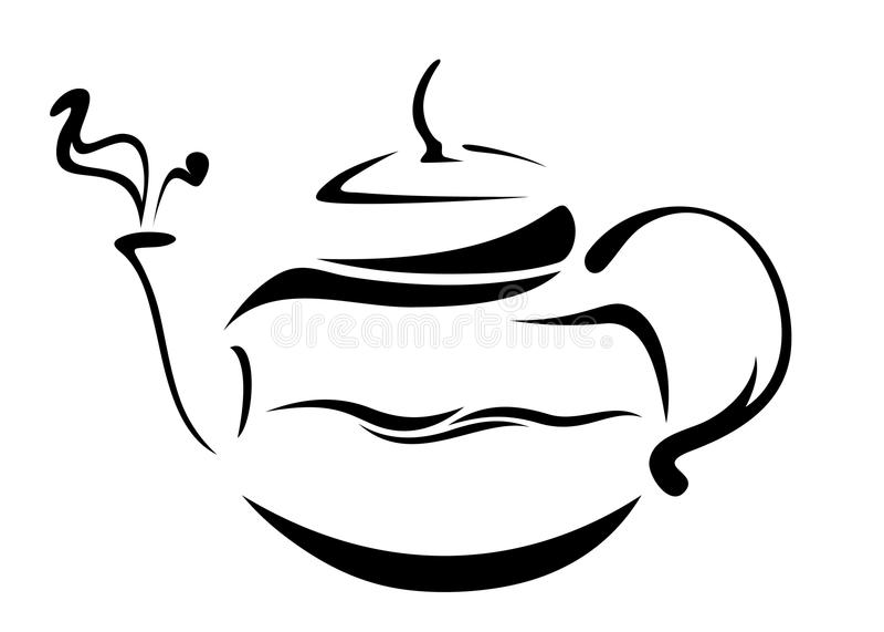Teapot vector. Boiling water in glass teapot - black and white illustration stock illustration