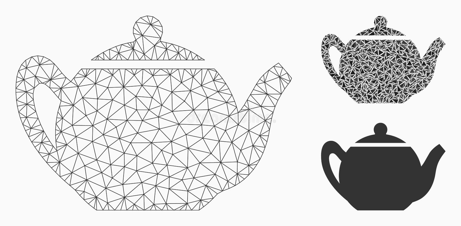 Teapot Vector Mesh Carcass Model and Triangle Mosaic Icon. Mesh teapot model with triangle mosaic icon. Wire carcass triangular network of teapot. Vector mosaic royalty free illustration