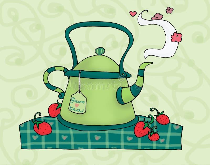 Teapot verde ilustração royalty free