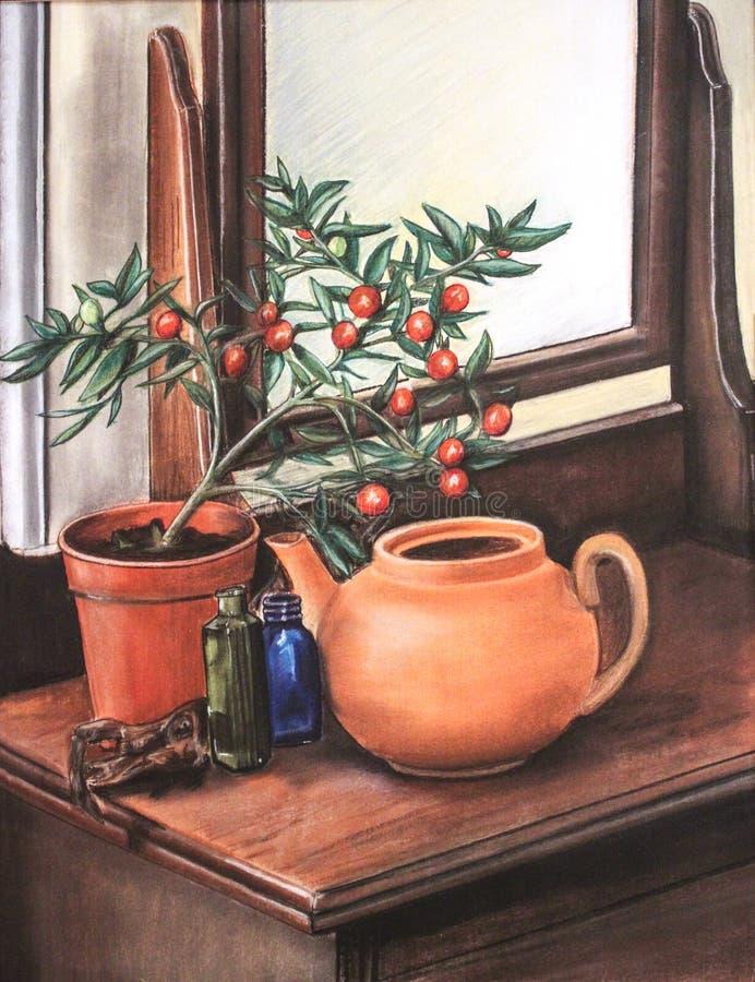 Teapot wciąż życia pastelu ilustracja ilustracja wektor
