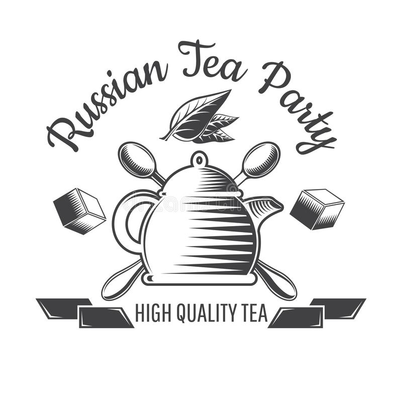 Teapot z faborkami i krzyż łyżkami Logo dla kawiarni, teahouse ilustracja wektor