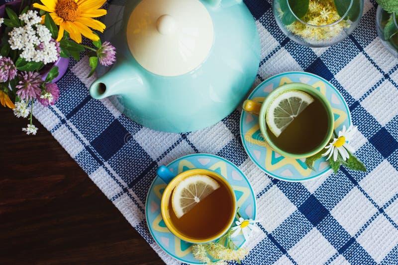 Teapot, zielona herbata z cytryną w filiżanek, chamomile i mennicy dekoracjach, zdjęcia royalty free