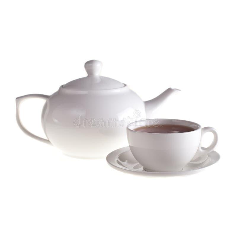 Teapoten och tea kuper royaltyfria bilder