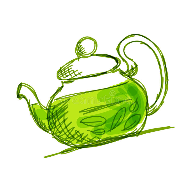 Teapoten skissar med grön tea vektor illustrationer