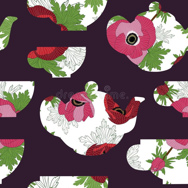 Teapots και φλυτζάνες τσαγιού με τα anemones στο σκοτεινό πορφυρό υπόβαθρο άνευ ραφής διάνυσμα προτύπων απεικόνιση αποθεμάτων